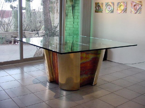 "Dining Room Table 36"" x 36"" x 29"" Bronze/Copper Oxide"